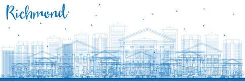 Orizzonte di Richmond del profilo (la Virginia) con le costruzioni blu royalty illustrazione gratis