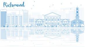 Orizzonte di Richmond del profilo (la Virginia) con le costruzioni blu e Refl illustrazione vettoriale