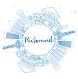 Orizzonte di Richmond del profilo (la Virginia) con le costruzioni e la copia blu illustrazione di stock