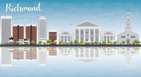 Orizzonte di Richmond (la Virginia) con Gray Buildings, cielo blu e Re royalty illustrazione gratis