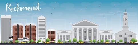 Orizzonte di Richmond (la Virginia) con Gray Buildings e cielo blu illustrazione vettoriale