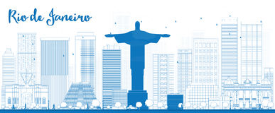 Orizzonte di Rio de Janeiro del profilo con le costruzioni blu Immagini Stock