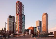 Orizzonte di Rotterdam con gli edifici per uffici Fotografia Stock