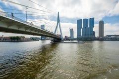 Orizzonte di Rotterdam con i grattacieli ed il ponte di ERASMUS fotografie stock libere da diritti
