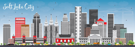 Orizzonte di Salt Lake City con Gray Buildings e cielo blu Immagine Stock Libera da Diritti