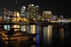 Orizzonte di San Diego alla notte Fotografia Stock Libera da Diritti