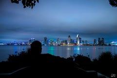 Orizzonte di San Diego sparato alla notte Fotografia Stock
