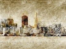 Orizzonte di San Francisco nello sguardo d'annata moderno ed astratto Fotografie Stock