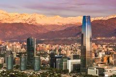 Orizzonte di Santiago de Cile Fotografia Stock Libera da Diritti