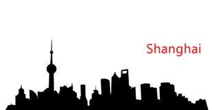 Orizzonte di Schang-Hai della siluetta Fotografia Stock Libera da Diritti