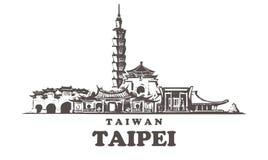 Orizzonte di schizzo di Taipei Taiwan, illustrazione disegnata a mano di vettore di Taipei immagine stock libera da diritti