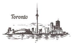 Orizzonte di schizzo di Toronto Illustrazione disegnata a mano di vettore di Toronto, Canada fotografia stock libera da diritti