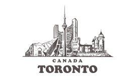 Orizzonte di schizzo di Toronto Illustrazione disegnata a mano di vettore del Canada, Toronto fotografie stock