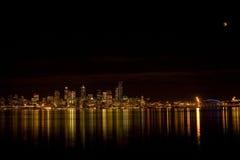 Orizzonte di Seattle con l'eclipse Fotografia Stock