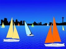 Orizzonte di Seattle e degli yacht Fotografia Stock Libera da Diritti