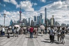 Orizzonte di Shanghai, Cina visto da Bund immagine stock libera da diritti