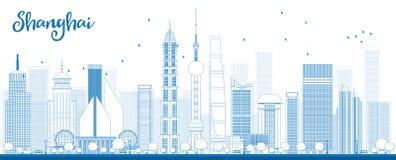 Orizzonte di Shanghai del profilo con i grattacieli blu royalty illustrazione gratis