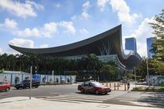 Orizzonte di Shenzhen come visto dalla costruzione di borsa valori Immagini Stock