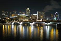 Orizzonte di Singapore alla baia del porticciolo Fotografie Stock Libere da Diritti