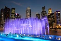 Orizzonte di Singapore alla baia del porticciolo Fotografie Stock