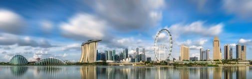 Orizzonte di Singapore e punto di vista di Marina Bay Fotografia Stock Libera da Diritti