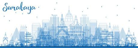 Orizzonte di Soerabaya del profilo con le costruzioni blu Immagini Stock