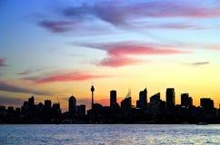 Orizzonte di Sydney alla notte fotografie stock