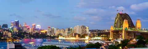 Orizzonte di Sydney - panorama della collina dell'osservatorio Fotografia Stock