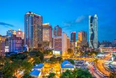 Orizzonte di Taichung, Taiwan alla notte immagini stock libere da diritti