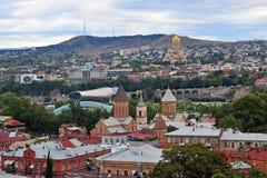 Orizzonte di Tbilisi, vista superiore di capitale di Georgia Fotografia Stock