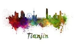 Orizzonte di Tientsin in acquerello Fotografia Stock Libera da Diritti