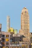 Orizzonte di tramonto di Manhattan in autunno, New York Immagini Stock Libere da Diritti