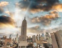 Orizzonte di tramonto di Manhattan in autunno, New York Immagine Stock