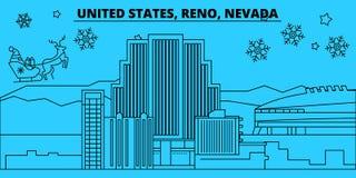 Orizzonte di vacanze invernali degli Stati Uniti, Reno, Nevada Il Buon Natale, buon anno ha decorato l'insegna con Santa Claus illustrazione vettoriale