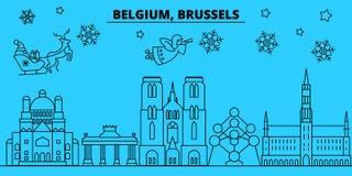 Orizzonte di vacanze invernali del Belgio, Bruxelles Il Buon Natale, buon anno ha decorato l'insegna con Santa Claus belgium illustrazione di stock