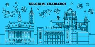 Orizzonte di vacanze invernali del Belgio, Charleroi Il Buon Natale, buon anno ha decorato l'insegna con Santa Claus belgium royalty illustrazione gratis