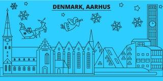 Orizzonte di vacanze invernali della Danimarca, Aarhus Il Buon Natale, buon anno ha decorato l'insegna con Santa Claus denmark illustrazione vettoriale