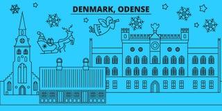 Orizzonte di vacanze invernali della Danimarca, Odense Il Buon Natale, buon anno ha decorato l'insegna con Santa Claus denmark royalty illustrazione gratis