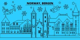 Orizzonte di vacanze invernali della Norvegia, Bergen Il Buon Natale, buon anno ha decorato l'insegna con Santa Claus La Norvegia illustrazione vettoriale