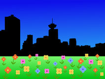 Orizzonte di Vancouver in primavera Immagini Stock