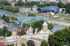 Orizzonte di vecchia Tbilisi, vista dalla fortezza di Narikala, Georgia Immagini Stock Libere da Diritti