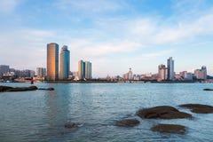 Orizzonte di Xiamen al crepuscolo Immagini Stock Libere da Diritti