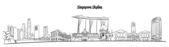 Orizzonte disegnato a mano di vettore di Singapore Fotografie Stock