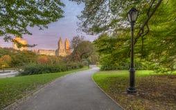 Orizzonte e Central Park di New York in autunno fotografie stock