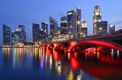 Orizzonte e fiume di Singapore Immagini Stock Libere da Diritti