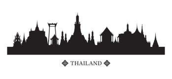 Orizzonte e siluetta dei punti di riferimento della Tailandia Immagine Stock Libera da Diritti