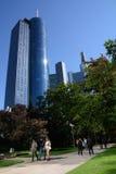 Orizzonte Francoforte con il banchiere Fotografia Stock Libera da Diritti