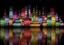 orizzonte futuristico della città Immagini Stock Libere da Diritti