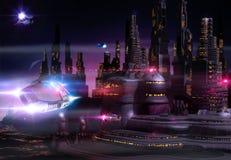 Orizzonte futuristico di paesaggio urbano alla notte illustrazione di stock