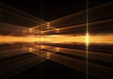 Orizzonte geometrico ardente con i raggi di luce Fotografie Stock Libere da Diritti